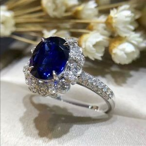 Jewelry - 3.26ct Blue Sapphire 14K Gold Engagement Ring